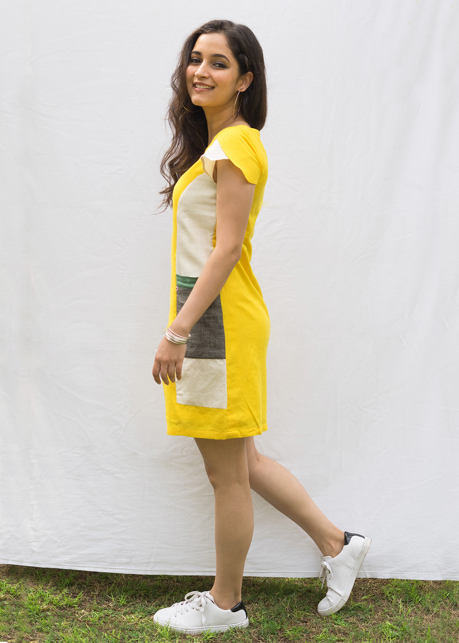 Yellow Block Shift Dress